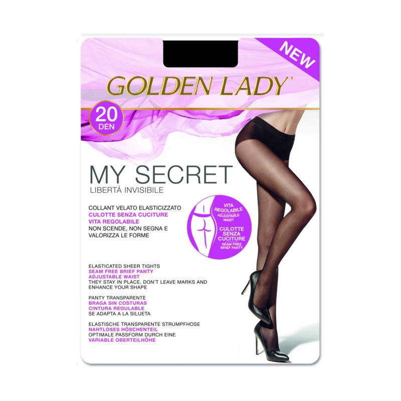 GOLDEN LADY COLLANT MY SECRET 20 DENARI NERO TAGLIA 5/XL