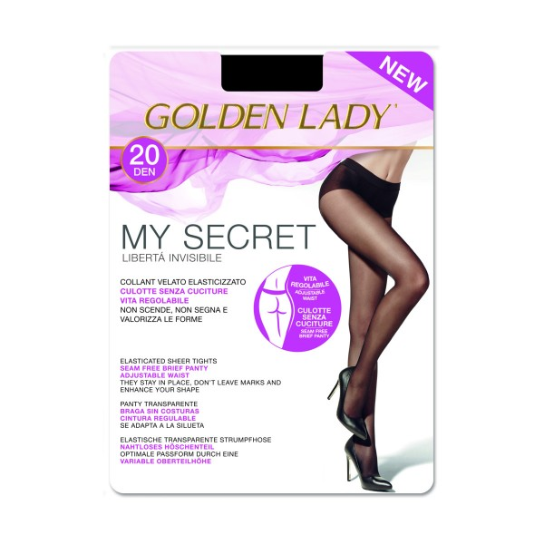 GOLDEN LADY COLLANT MY SECRET 20 DENARI NERO TAGLIA 5/XL , CALZE, COLLANT & GAMBALETTI, S131975, 83213