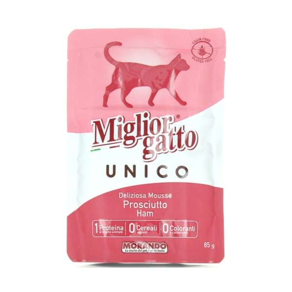 MIGLIOR GATTO UNICO 100% PROSCIUTTO DELICATA MOUSSE BUSTA g85 , NUTRIZIONE, S139132, 84206