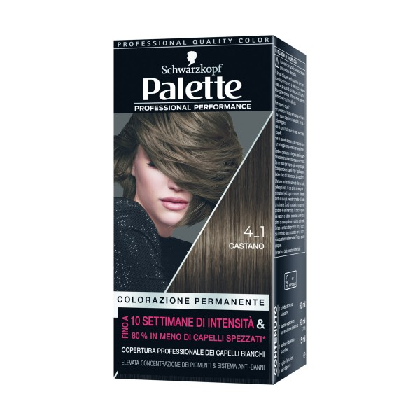 PALETTE COLORAZIONE PROFESSIONALE PERMANENTE 4,1 CASTANO, COLORANTI, S096307, 84305