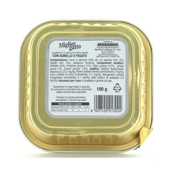 MIGLIOR GATTO VASCHETTA PATE' AGNELLO-FEGATO 100 GR , NUTRIZIONE, S108876, 84355