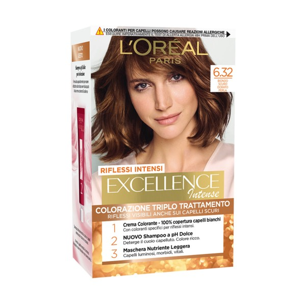 EXCELLENCE INTENSE COLORAZIONE 6.32 BIONDO SCURO DORATO PERLA, COLORANTI, S159023, 84539