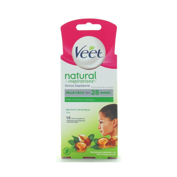 VEET 16 STRISCE DEPILATORIE VISO NATURAL INSPIRATIONS ARGAN OIL, STRISCE DEPILATORIE, S132251, 84637