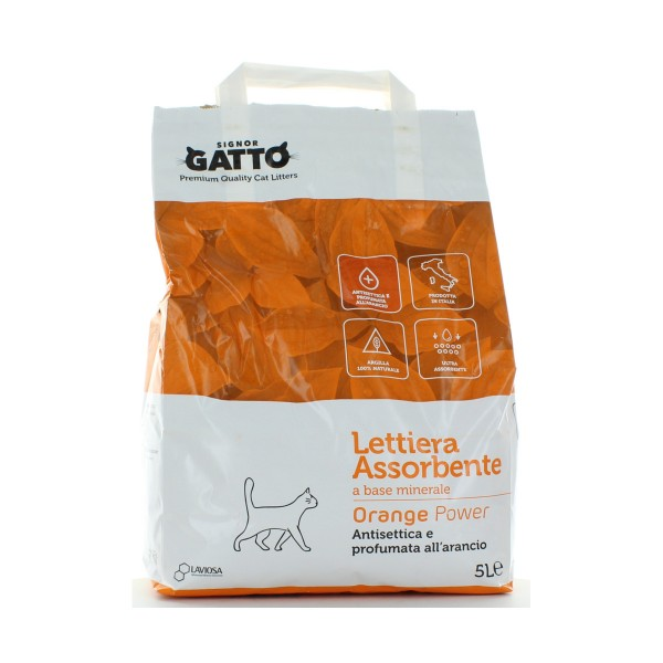 SIGNOR GATTO LETTIERA ANTIBATTERICA ORANGE POWER SACCO 5 L, LETTIERE, S015900, 84720
