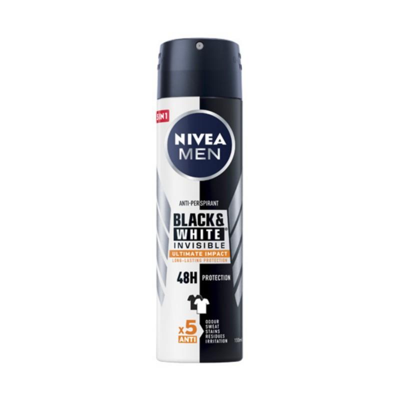 NIVEA FOR MEN DEODORANTE SPRAY 5in1 INVISIBLE BLACK & WHITE ULTIMATE IMPACT
