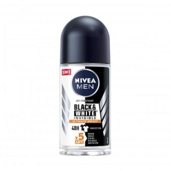 NIVEA FOR MEN DEODORANTE ROLL-ON INVISIBLE BLACK & WHITE ULTIMATE IMPACT 5in1 50 ML