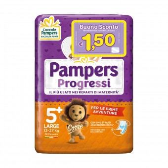 PAMPERS PANNOLINI PROGRESSI 5+ LARGE 13-27 Kg 19 PZ.