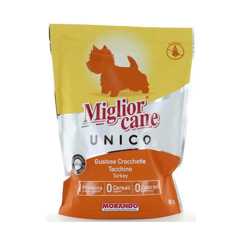MIGLIOR CANE UNICO CROCCHETTE CON TACCHINO PER CANI DI PICCOLA TAGLIA BUSTA CON ZIP 800 Grammi