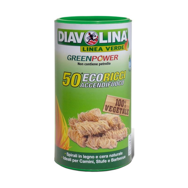 DIAVOLINA GREENPOWER 50 ECORICCI ACCENDIFUOCO 100% VEGETALE PER CAMINI, STUFE e BARBECUE