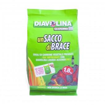 DIAVOLINA SACCO DI BRACE CARBONE VEGETALE 1,8 KG