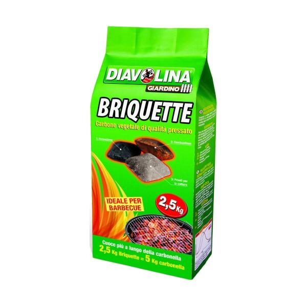 DIAVOLINA BRIQUETTE CARBONE VEGETALE SACCO 2,5 KG , CARBONELLA, S159655, 85314