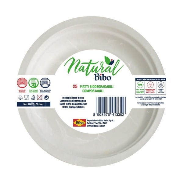 BIBO NATURAL 25 PIATTI BIODEGRADABILI E COMPOSTABILI DM 17 cm, ACCESSORI TAVOLA USA E GETTA, S159894, 85977