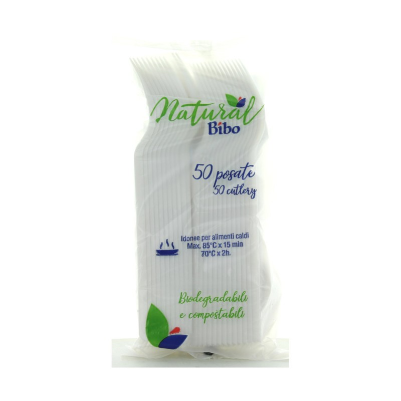 BIBO NATURAL 50 FORCHETTE BIODEGRADABILI E COMPOSTABILI
