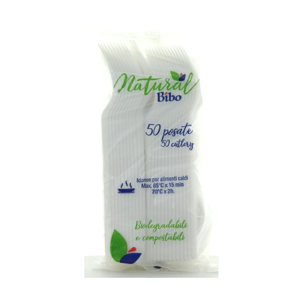 BIBO NATURAL 50 FORCHETTE BIODEGRADABILI E COMPOSTABILI , ACCESSORI TAVOLA USA E GETTA, S159898, 86021