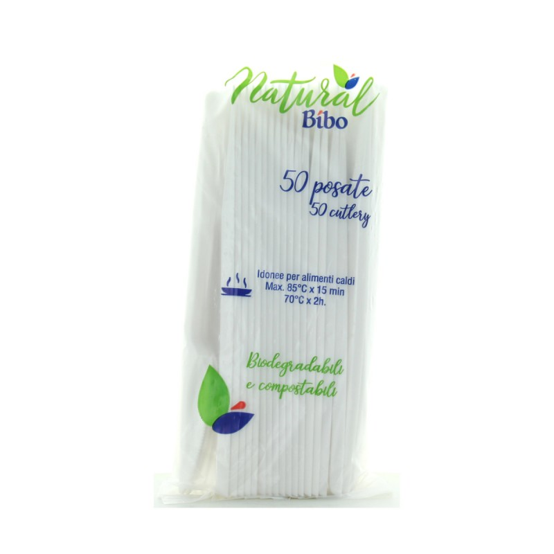 BIBO NATURAL 50 COLTELLI BIODEGRADABILI E COMPOSTABILI