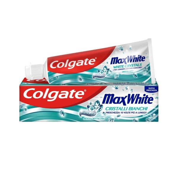 COLGATE DENTIFRICIO MAX WHITE CRISTALLI BIANCHI 75 ML, DENTIFRICI, S160111, 86352