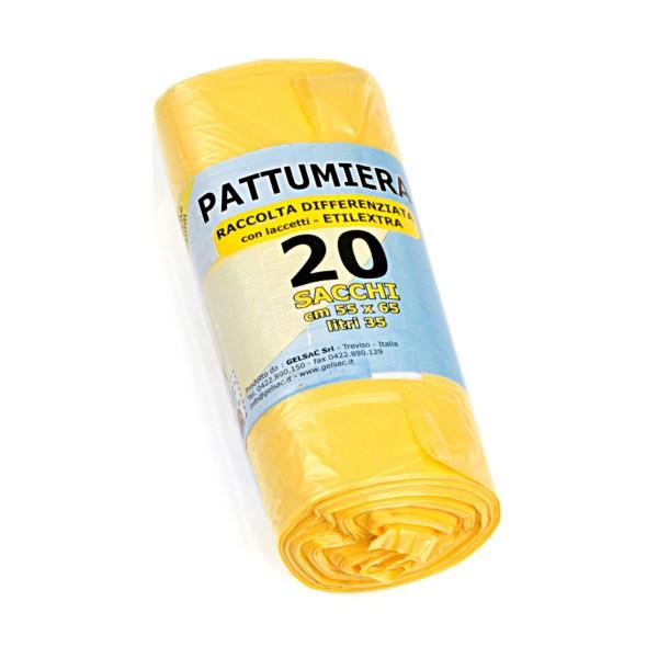 GEL SAC SACCHI PATTUMIERA HD 55x65 GIALLO TRASPARENTI IN ROTOLO 20 PZ, SACCHETTI SPAZZATURA, S094578, 87005