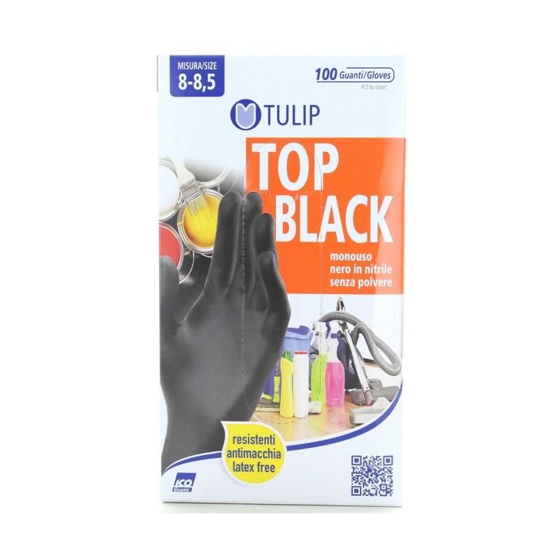 TULIP TOP BLACK GUANTI IN NITRILE SENZA POLVERE MONOUSO 100 PZ MISURA 8-8,5