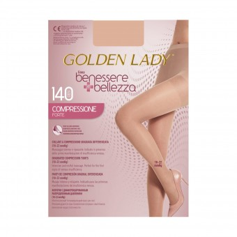 GOLDEN LADY COLLANT BENESSERE & BELLEZZA A COMPRESSIONE FORTE GRADUATA DIFFERENZIATA 140 DENARI PLAYA TAGLIA 4/L