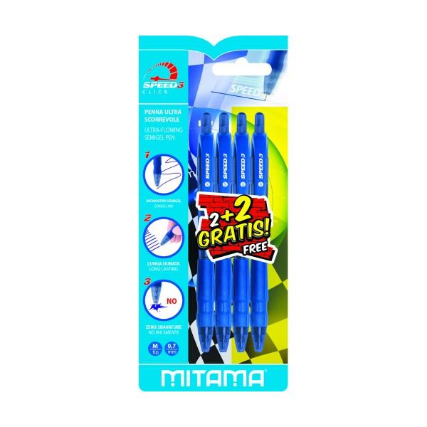 MITAMA 2 PENNE SFERA A SCATTO SPEED3 INCHIOSTRO SEMI GEL BLU, PENNE, MATITE, COLORI & CO, S150719, 87285