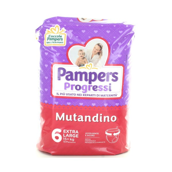 PAMPERS PROGRESSI MUTANDINO 6 EXTRALARGE 15 PZ 15+ KG, PANNOLINI, S149789, 87324