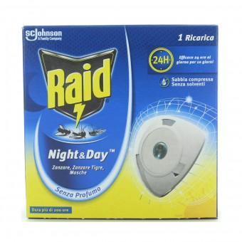 RAID NIGHT&DAY INSETTICIDA RICARICA PER DIFFUSORE ELETTRICO ZANZARA TIGRE E COMUNE