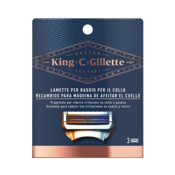 KING C GILLETTE 3 LAMETTE RASOIO PER IL COLLO, LAME E RASOI PER UOMO, S160652, 87356