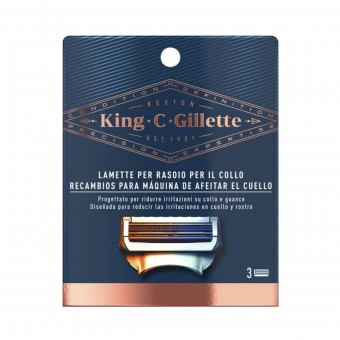 KING C GILLETTE 3 LAMETTE RASOIO PER IL COLLO