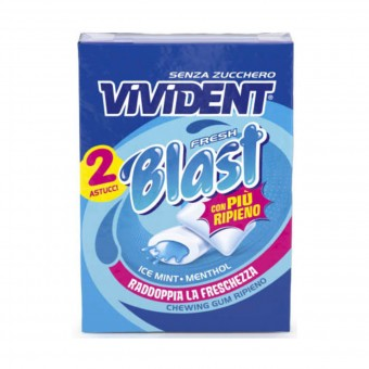 VIVIDENT FRESH BLAST GUM ICE MINT e MENTHOL ZENZA ZUCCHERO 2 ASTUCCI