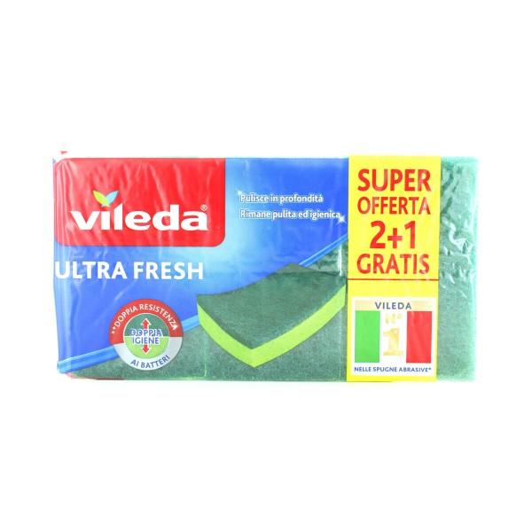 VILEDA ULTRA FRESH SPUGNA ABRASIVA PEZZI 2+1, SPUGNE PIATTI E CUCINA/PANNI SPUGNA, S153763, 87907