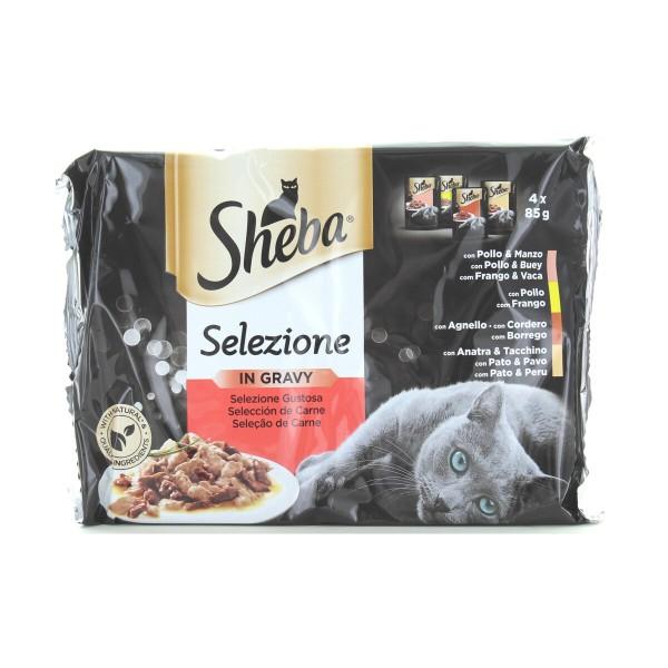 SHEBA SELEZIONE GUSTOSA IN SALSA DI CARNE 4 BUSTE DA 85 GRAMMI (POLLO&MANZO - POLLO - AGNELLO - ANATRA&TACCHINO), NUTRIZIONE, S160116, 87923