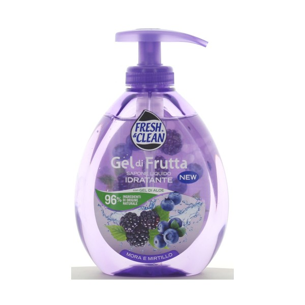 FRESH & CLEAN SAPONE LIQUIDO MANI GEL FRUTTA MORA E MIRTILLO 300 ML, SAPONI, S127748, 87925