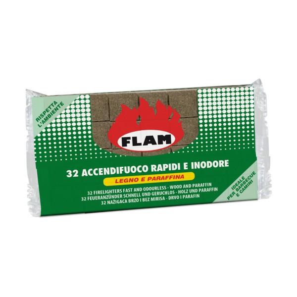 FLAM ACCENDIFUOCO 32 CUBETTI IN LEGNO E PARAFFINA, ACCENDIFUOCO, S113551, 88483