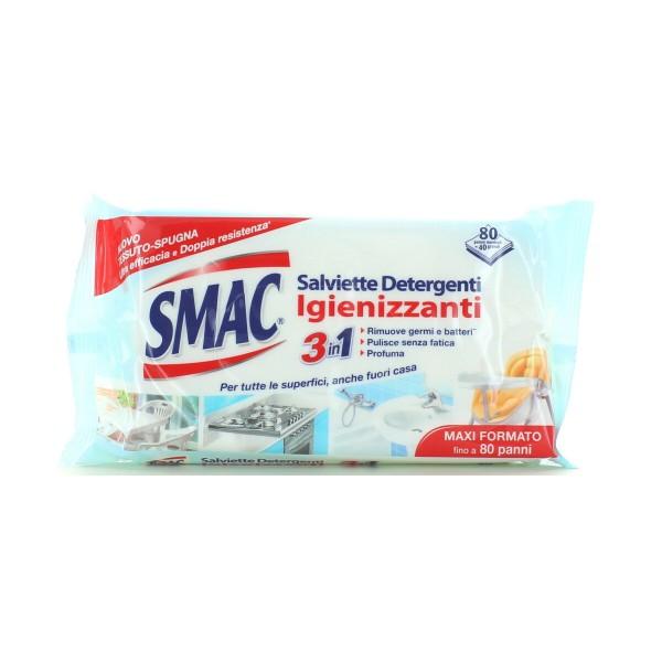 SMAC SALVIETTE DETERGENTI IGIENIZZANTI 3in1 CON ANTIBATTERICO 80 PANNI, SGRASSATORI/PICCOLE SUPERFICI, S151885, 89608