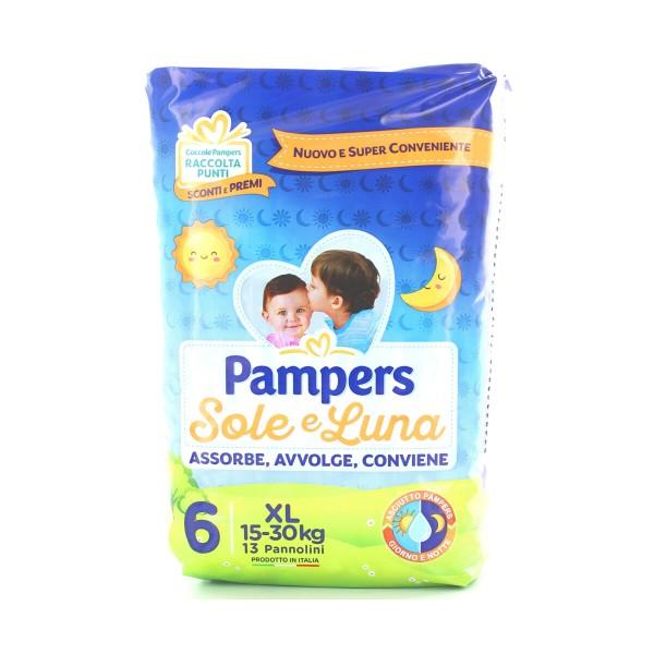 PAMPERS PANNOLINI SOLE E LUNA 6  XL 15-30 Kg 13 PZ., PANNOLINI, S036344, 90358