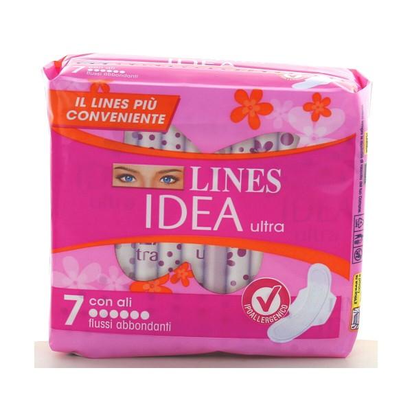 LINES IDEA ULTRA ALI FLUSSI ABBONDANTI 7 PZ, ASSORBENTI ESTERNI, S157203, 90396