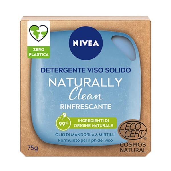 NIVEA VISO DETERGENTE SOLIDO NATURALLY CLEAN RINFRESCANTE OLIO DI MANDORLE & MIRTILLI 75 grammi, CURA VISO DONNA, S162924, 91094