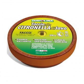 DIAVOLINA TORCIA CITRONELLA DI GIAVA IN COCCIO DI TERRACOTTA DM 16 CM PER STERNO