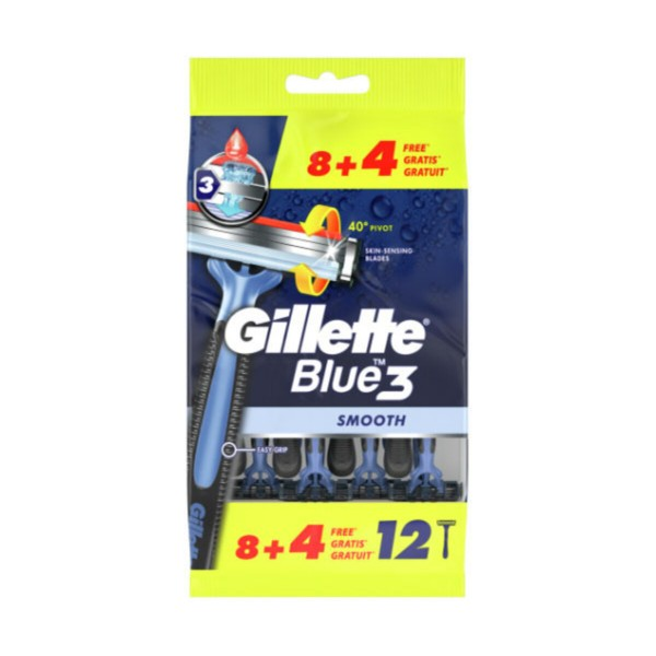 GILLETTE BLUE3 RASOIO USA & GETTA 8+4 PZ, LAME E RASOI PER UOMO, S163459, 92437