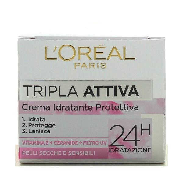L'OREAL TRIPLA ATTIVA CREMA GIORNO PELLI SECCHE-SENSIBILI 50 ML, CURA VISO DONNA, S007559, 92461