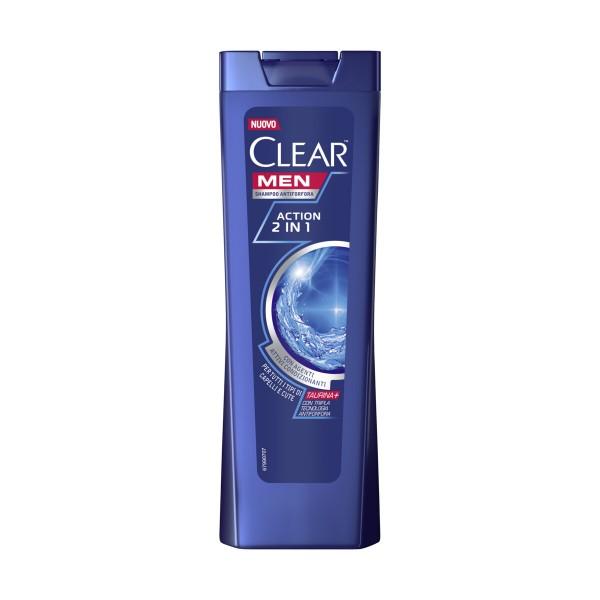 CLEAR MEN SHAMPOO ACTION 2in1 CON AGENTI ATTIVI CONDIZIONANTI PER TUTTI I TIPI DI CAPELLI e CUTE 225 ML, SHAMPOO, S042635, 95039