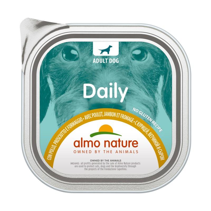 ALMO NATURE DAILY CANE VASCHETTA POLLO - PROSCIUTTO - FORMAGGIO 300 grammi
