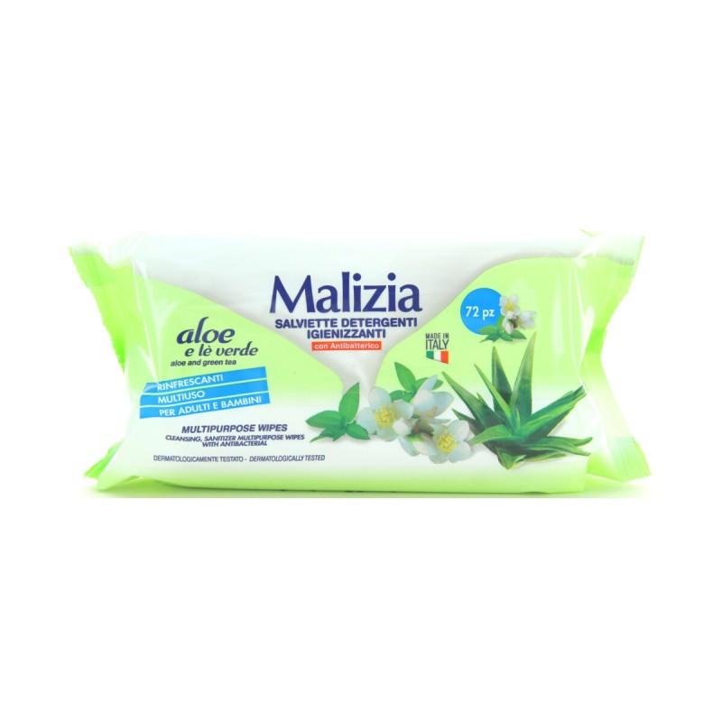 MALIZIA SALVIETTE MULTIUSO RINFRESCANTI ALOE 72 PZ CON ANTIBATTERICO